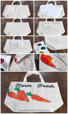 How to Make a Watercolor Effect Farmers Market Bag   CreativeCainCabin.com