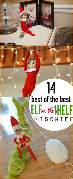 Best of the Best Elf on the Shelf Mischief. Awesome places for your Christmas elf that will bring holiday cheer. Simple, last minute elf ideas that will leave the kids laughing. Zip-line, grinch, emoji and mustache elf.