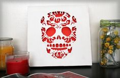 Day Of the Dead Sugar Skull Cut Paper Wall Art Red by hvansick, $45.00