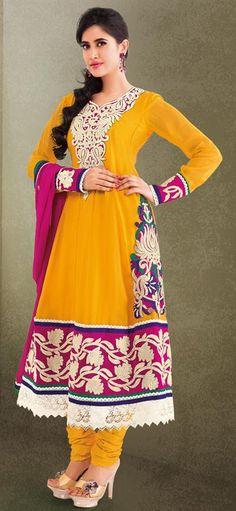 $71.32 Yellow Cotton Embroidered Churidar Salwar Kameez 23949