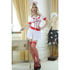 White Sexy Nurse Costume ($26) ❤ liked on Polyvore featuring costumes, white, white costume, sexy halloween costumes, white halloween costumes, sexy nurse halloween costume and nurse costume