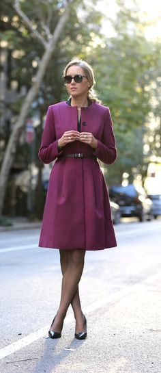 The Classy Cubicle: Owning the Interview. {fashion blog, young professional women, office style inspiration, corporate work wear, fall fashion trends, burgundy wool gates coat, pleated overcoat, jewel tones, ann taylor, ralph lauren, bow belt}