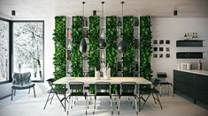 This photo. Love the plants on the wall, while you can see winter through the windows (25 Gorgeous Dining Rooms to Make You Drool 1)