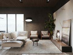 salón con pared de color gris