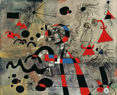 """""""The Escape Ladder"""" (1940)s creates the most vibrant expression of Miró's inner universe, with its by now recognisable system of codes and symbols. The ladder of this painting had always been a fascination for him; it had acted as a metaphor for his attempts to put his painting on a different plane of understanding the world, as a path away from mundane realism. Now it becomes an even more urgent gesture toward flight: """"I felt a deep desire to escape,"""" he wrote of that period."""
