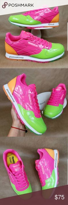 1c0f26631d2 Reebok Classic Leather Women s neon pink sneakers Size  5.5Y or 24cm   7.5  women s