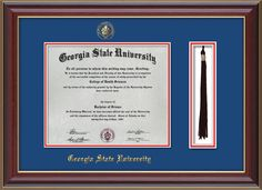 GSU Diploma Frame-Cher Lacquer-w/GSU Seal-Tassel-Royal Blue on Red mat – Professional Framing Company