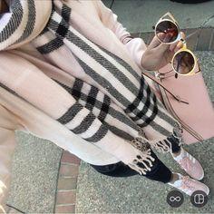 Quay Sunglasses, Pink Adidas Gazelle Sneakers, Sweatshirt, and pink plaid scarf pink handbag