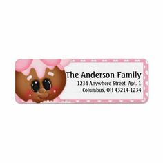 Ginger Cookie Valentine's Day Address Labels d6