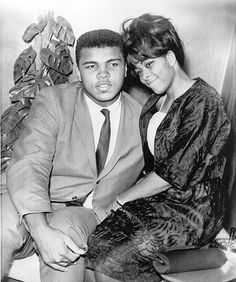 Clay with his first wife, Sonji, in 1964, the year he changed his name to Muhammad Ali after converting to the Muslim faith.