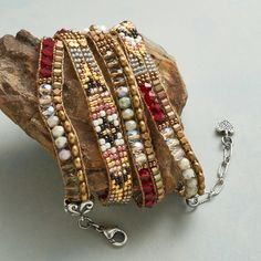 """GOLDEN TIMES BRACELET--Weaving together traditional motifs and modern style, Adonnah Langer creates a gilded tapestry in a bracelet with pearls, Czech fire-polished beads, Japanese Delica beads and brass. Beaded bracelet with sterling end caps and lobster clasp. USA. Exclusive. 27"""" to 28""""L."""