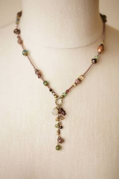 "Anne Vaughan Designs - Mauve Mix 17-19"" Dangle Tassle Necklace, $66.00 (http://www.annevaughandesigns.com/mauve-mix-handmade-dangle-tassle-gemstone-necklace/)"