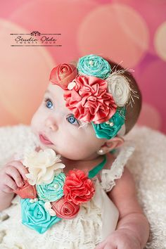 Coral, Ivory, Tropical Blue Couture Headband: Toddler Bib Necklace, Satin Flowers, Pearls, Birthday Girl, Flower Girl, Wedding Couture