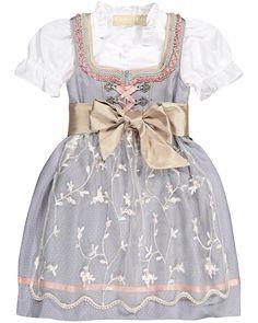Krüger Mädchen-Dirndl mit Bluse und Schürze   LODENFREY Girls Dresses, Flower Girl Dresses, Wedding Dresses, German, Fashion, Clothing, Flower Girl Gown, Silk, Blouse