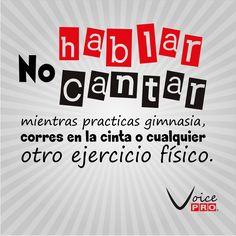 Consejo del día: No hablar/Cantar, mientras practicas gimnasia, corres en la cinta o cualquier otro ejercicio fisico. Dra. Janaína Mendes #VoicePRO #VozSana