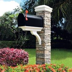 Eye Level, Gray Stacked Stone Mailbox Post, Brace & Curved Cap, 50-KITGWC at The Home Depot - Mobile