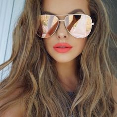 2017 Light Pink Gold Mirror Woman Sunglasses + Free Pouch