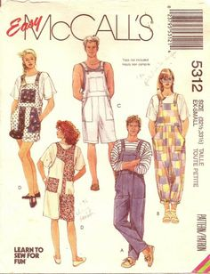 XS Unisex Overalls Sewing Pattern Easy McCalls 5312