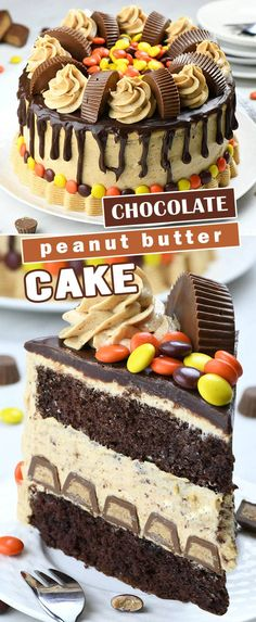 Peanut Butter Chocolate Cake is the ultimate chocolate peanut butter dessert recipe. Fudgy chocolate cake layers with creamy peanut butter cheesecake filling, overloaded with tons of peanut butter cups and silky milk chocolate ganache on top. Peanut Butter Dessert Recipes, Chocolate Peanut Butter Cheesecake, Peanut Butter Recipes, Fudge Recipes, Chocolate Ganache, Chocolate Desserts, Cake Recipes, Chocolate Peanutbutter Cake, Peanut Butter Ganache Recipe