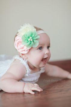 Baby Headband - Newborn Headband - Flower Headband - Photo Prop - Mint and Peach Headband by simpledesignbows, $11.50
