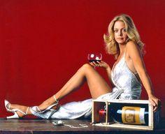 Goldie Hawn advertising wine, 1970s.