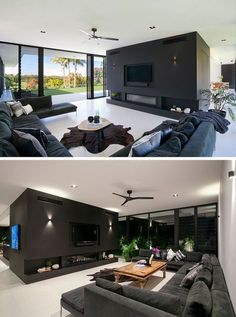 This modern living room is open to the backyard of this home. A large sofa focused on the tv and fireplace makes it the ideal place to watch movies. Dream Home Design, Modern House Design, Home Interior Design, Living Room Modern, Home Living Room, Living Room Designs, Modern Architecture Design, Interior Architecture, Family Room Design
