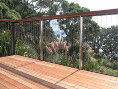 Stainless steel balustrades with wire rigging Patio Balustrade Ideas, Wire Balustrade, Balustrade Design, Balustrades, Handrail Ideas, Exterior Handrail, Staircase Railings, Deck Railings, Entry Stairs