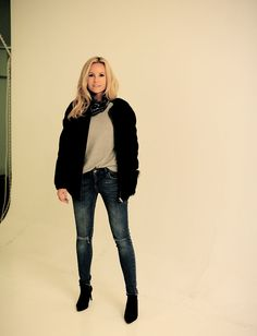 Style...Sofi Fahrman // /Bomber Tiger of Sweden//Sweater Davida//Jeans Anine Bing//Scarf Chanel//Boots Saint Laurent//