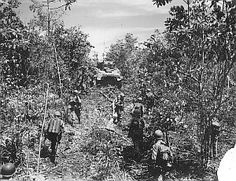 A Sherman tank crests a ridge as members of Company A, 186th Infantry Regiment move forward in two columns behind it.