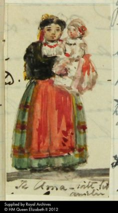 Princess Marie Amelie de Montpensier in the arms of the 'Ama' in her Spanish national dress: watercolour by Queen Victoria. Queen Victoria's Journals (website). RA VIC/MAIN/QVJ (W) 14 June 1852 (Journal illustration). See http://www.queenvictoriasjournals.org