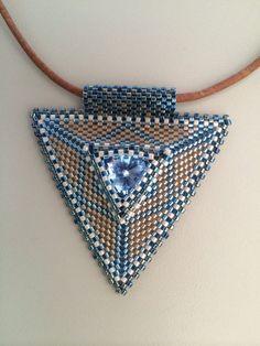Denim blue triangle pendant by BeadSplashHCJ on Etsy