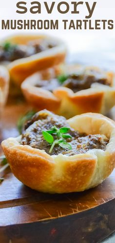 Flaky pastry cups filled with mushroom duxelles - a simple and delicious hors d'oeuvre for the holidays or any cocktail party! Beef Appetizers, Mushroom Appetizers, Appetizers For Party, Appetizer Recipes, Simple Appetizers, Vegetarian Appetizers, Christmas Appetizers, Mushroom Recipes