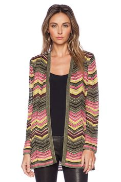 M Missoni Multi Zig Zag Cardigan in Pink