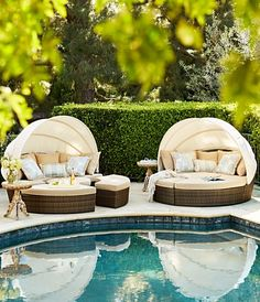 With 231 cu. of space, our versatile, all-weather Baleares daybed serves as a private lounger or seating for six. Pool Patio Furniture, Outdoor Furniture Sets, Furniture Ideas, Outdoor Spaces, Outdoor Living, Outdoor Decor, Decks, Pool Designs, Gazebo