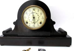 Antique Sessions Wooden Tambour Mantle Clock by CreekLifeTreasures