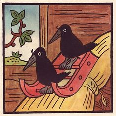Josef Lada. These two crows find their real-life counterpart in this video http://www.youtube.com/watch?v=8rzzmE5JSEA. Life imitating art, or art imitating life?