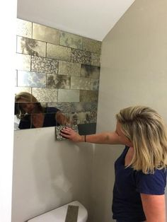 Inspiration – The Glass Shoppe Antique Mirror Subway tile Diy installation. Handmade and hancut antique mirror for a feature wall or a kitchen backsplash. www.striptiles.com
