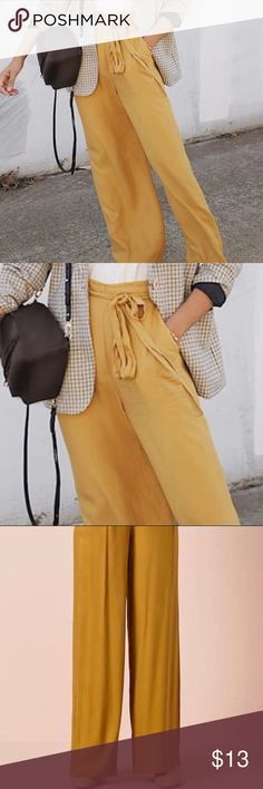 Mustard Palazzo Pants Worn once. Super fashionable, comfy and lightweight. Great pop of color for any occasion.  Will post my own modeled pics tomorrow! Forever 21 Pants Wide Leg