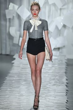 We saw the resurgence of hot pants and pussy-bow blouses for Spring.