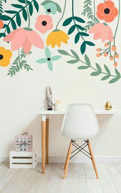 Trendy Home Wallpaper Bedroom Spaces Ideas Wall Murals Bedroom, Bedroom Decor, Girls Bedroom Mural, Painted Wall Murals, Kids Wall Murals, Girls Bedroom Wallpaper, Playroom Mural, Kids Room Wallpaper, Mural Wall