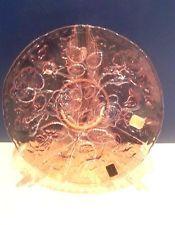 "Imperial LIG Pink Carnival Glass 10.5"" Rose Flower Plate"