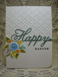 HAPPY EASTER!   Just a couple of Easter cards I made to send to friends.       Card 1  Stamps: Wplus9 Fresh Cut Florals; Paper Studio emboss...