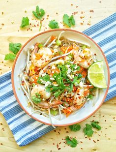 Paleo Kelp Noodle Pad Thai with Shrimp. Light, fresh, and healthy!