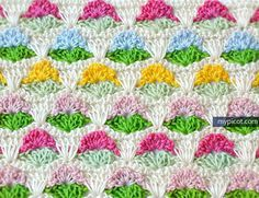 """MyPicot   Free crochet patterns.    Multicolored Crochet Stitch     New as of 8/24/15   (2/2)  .....or """"Little Flowers"""""""