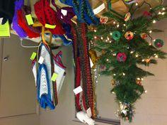 one o'clock blonde holiday display - handmade, crochet fashions
