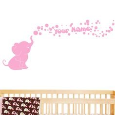 Elephant Bubbles Vinyl Wall Decal with Your Personalized Name Nursery Decor Great Gift (Soft Pink)