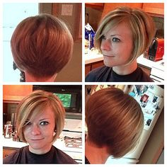 Graduated bob with clippered nape on highlighted hair (16705 | by short hairstyles and makeovers)