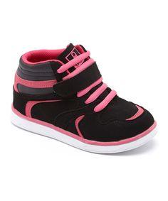 Black & Fuchsia Hi-Top Sneaker