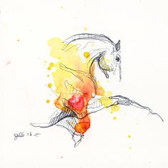 Equine Nude 45 - Ballpoint Pen and watercolor Horse Painting