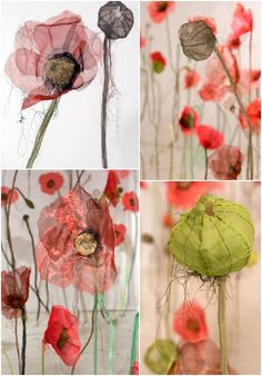 A field of poppies installation by Jannick Deslauriers Textile Sculpture, Sculpture Art, Fabric Flowers, Paper Flowers, Flower Structure, Paper Installation, My Art Studio, Textiles, Pallet Art